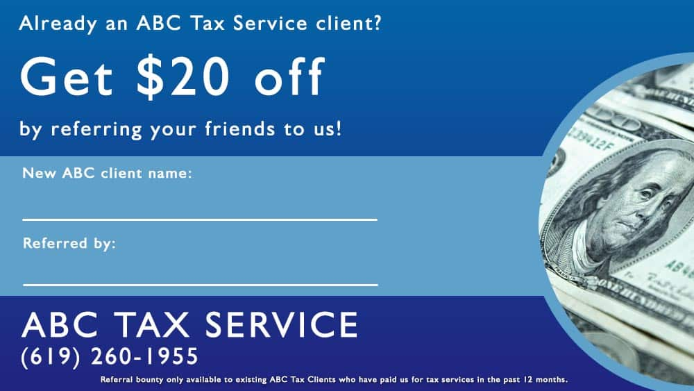 San Diego tax preparation coupon